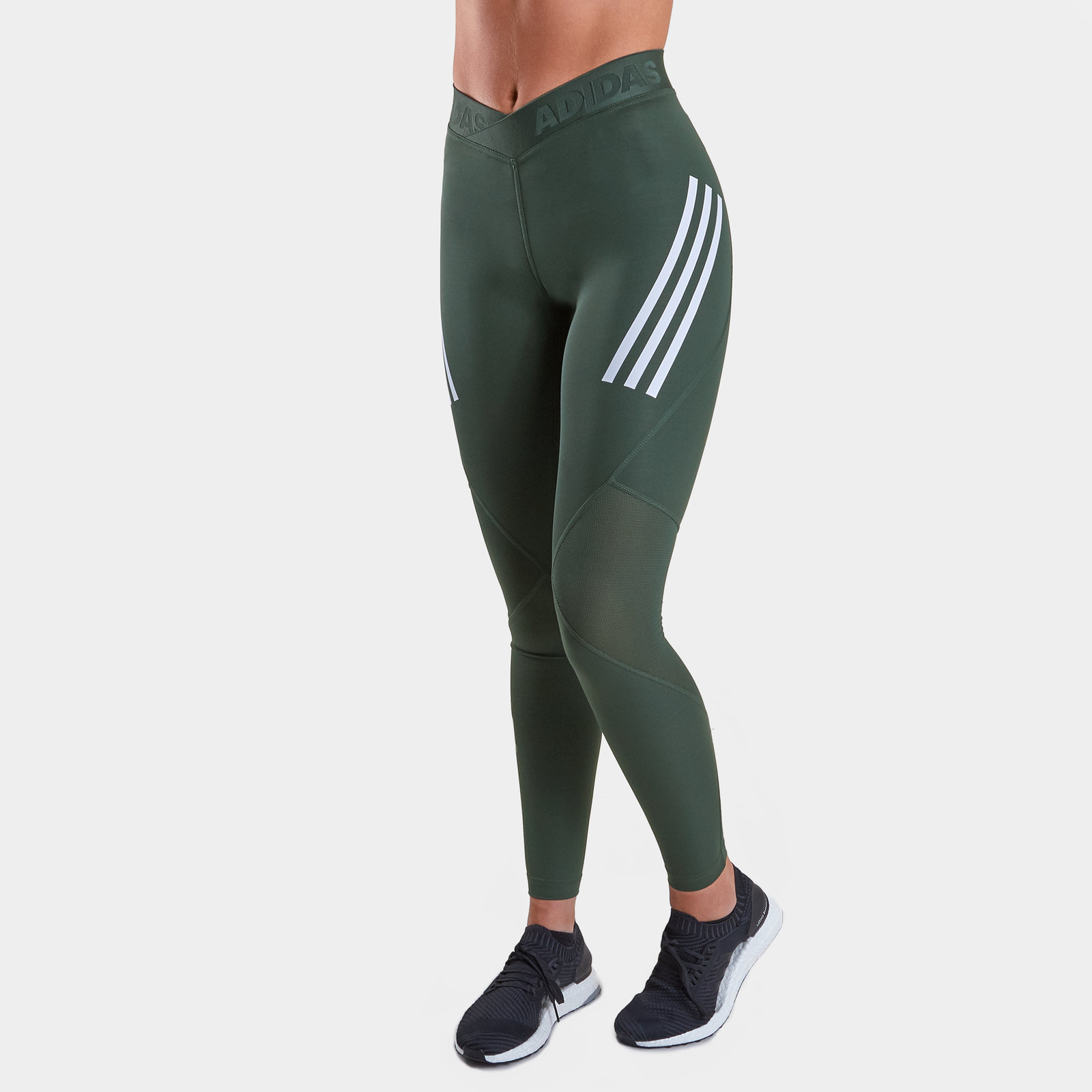 Freundschaftlich Adidas Womens Alphaskin Sport Ladies 3 Stripes Long Tights Green