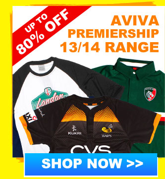 Up to 80% off Aviva Premiership range
