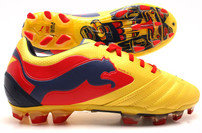 Puma Powercat 1 Graphic FG Football Boots Blazing Yellow/Medieval Blue/Flame Scarlet