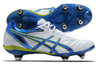 Asics Lethal Flash DS 3 ST SG Rugby Boots White/Blue/Neon Yellow