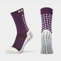 Mid Calf Cushion Crew Socks Purple/White