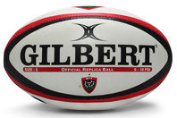 Toulon Replica Rugby Ball White/Black/Red