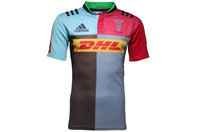 Harlequins 2015/16 Home S/S Replica Rugby Shirt Brown/Light Grey/Red Beauty