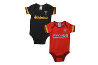 Wales WRU 2016/17 Infant Bodysuits 2 Pack