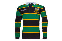 Macron Northampton Saints 2016/17 Players Heavy Cotton L/S Rugby Polo Shirt