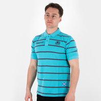 Macron Scotland 2017/18 Travel Stripe Polycotton Rugby Polo Shirt