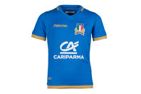 Macron Italy 2017/18 Kids Home S/S Replica Rugby Shirt