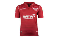 Macron Scarlets 2017/18 Kids Home S/S Replica Rugby Shirt